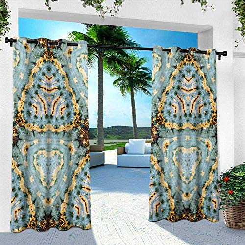 Motif Hurricane - leinuoyi Tie Dye, Outdoor Curtain Panel Design, Classic Tie Dye Batik Motif with Bizarre and Oriental Multiple Icons Aesthetic, Balcony Curtains W108 x L96 Inch Brown Blue