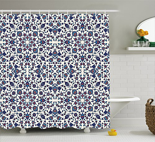 Ambesonne Arabesque Shower Curtain, Moroccan Floral Pattern with Victorian Rococo Baroque Design, Fabric Bathroom Decor Set with Hooks, 70 Inches, Cream Indigo Vermilion Blue - Blue Floral Pattern