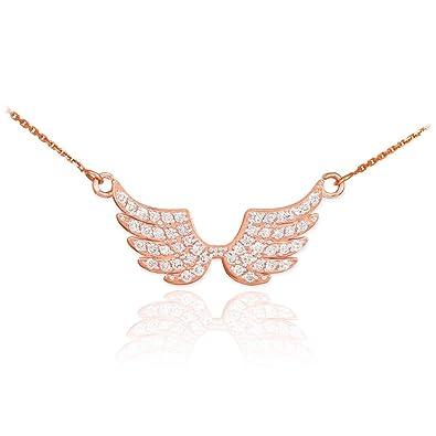 Fine 14k Rose Gold Angel Wings Diamond Pendant Necklace 16quot