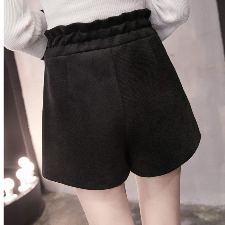Autumn Winter Female Shorts New Simple Loose High Waist Shorts Women Wear Thickening Woolen Wide Leg Shorts