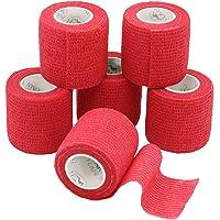 YuMai 6 Rollen Selbsthaftende Bandage, Wundverband, Sport Elastischer Verband, 5cm x 4.5m - Rot