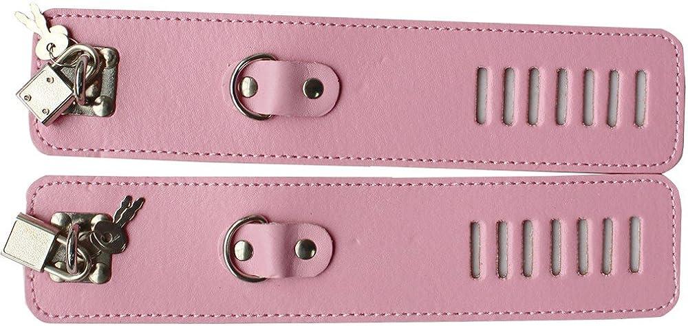 iiniim Unisex Faux Leather Lockable Wrist Cuffs Restraints Gloves Lacing Mittens with Lock Keys