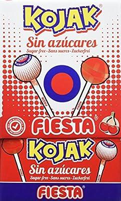 FIESTA Kojak - Caramelo con palo - Sin Azúcar - Sabor cereza - 50 unidades