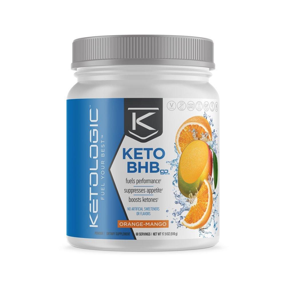 KetoLogic BHB,  Orange & Mango | Ketone Supplement, Suppresses Appetite, Increases Energy, Low Carb, Electrolytes, Beta-Hydroxybutyrate Salts | 60 Servings by Ketologic