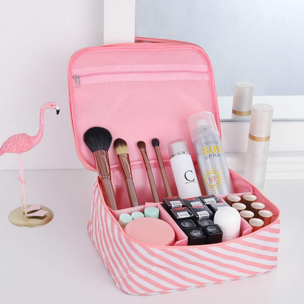 Travel Makeup Case Portable Cosmetic Bags Multifunctional Toiletry Cases for Women and Girls Pink Stripe