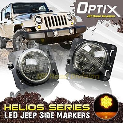 Optix LED Front Fender Smoke Amber Side Marker X2 for Jeep Wrangler JK 07-16 Parking Turn Bulb Lamp Indicator Light Signal Flares