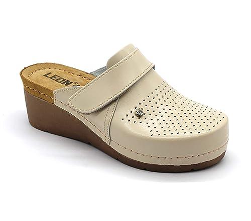 69299a7e Leon 1001 Zuecos Zapatos Zapatillas de Cuero Para Mujer: Amazon.es: Zapatos  y complementos