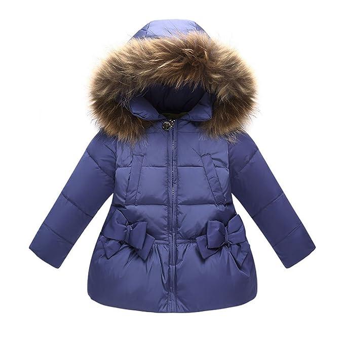 3-4 Years, Red Jojobaby Baby Boys Girls Hooded Snowsuit Winter Warm Fur Collar Hooded Down Windproof Jacket Outerwear