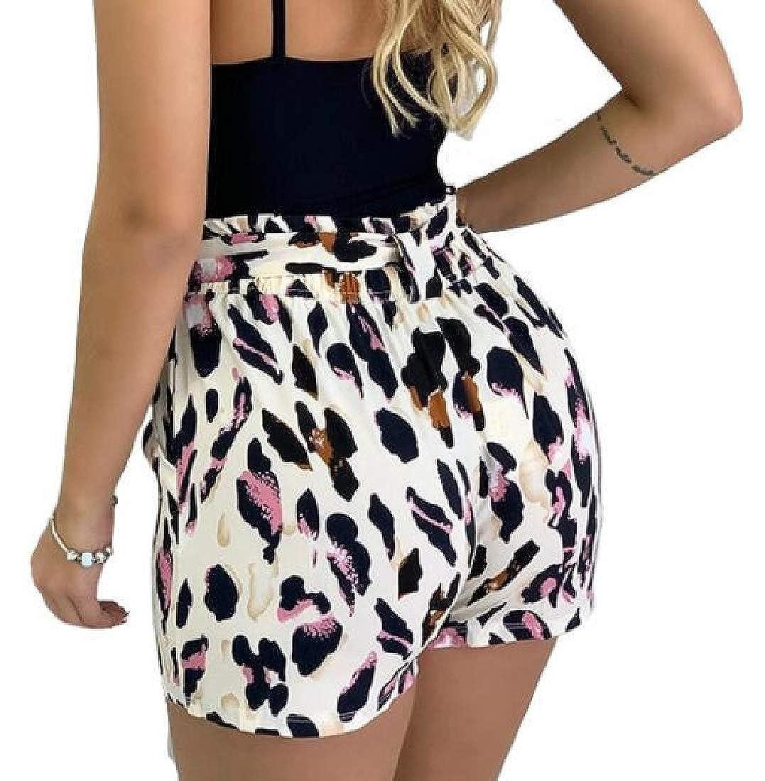 Hokny TD Womens Summer Floral Print Elastic Tie Waist Beach Shorts