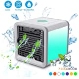 Mini Air Cooler, Portable Air Conditioner with USB,FabSelection 3 in 1 Humidifier Purifier Cooling Fan with 7 Colors & 3 Speed Modes for Home, Bedroom, Office, Living Room