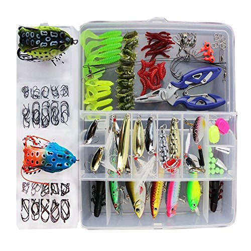 1 Set Freshwater Saltwater Trout Bass Salmon Spinner Baits Topwater Fishing Froglures Fishing Tackle Crankbaits Lures Spinner Baits Spoon Lures With Plier (Trout Fishing Gear)