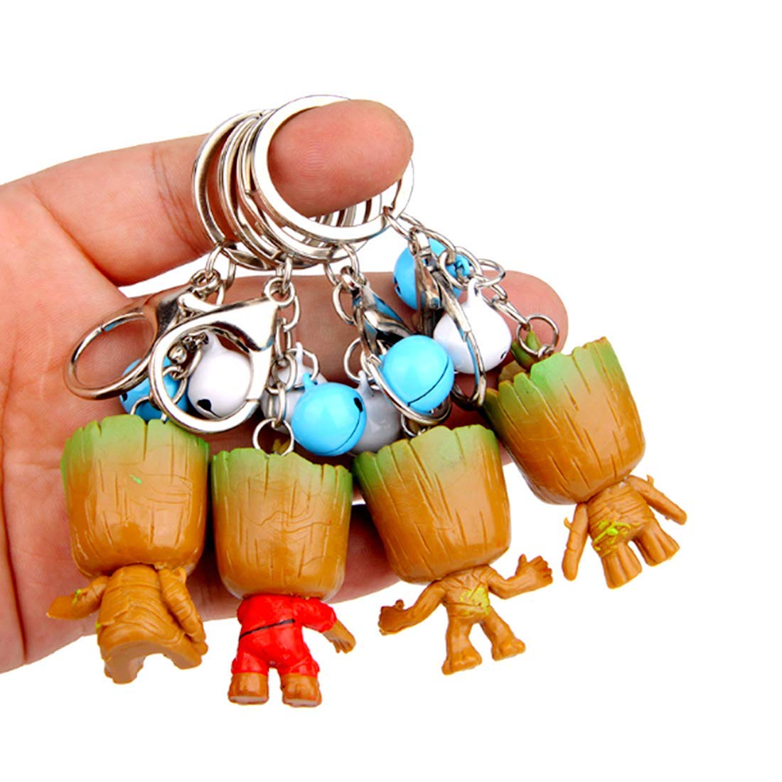 sunliveus 4 Pack Grote Miniature Pendant Key Ring sunliveus 4 Pack Grote Miniature Pendant Key Ring with Bells Cute Baby Groot Keychain