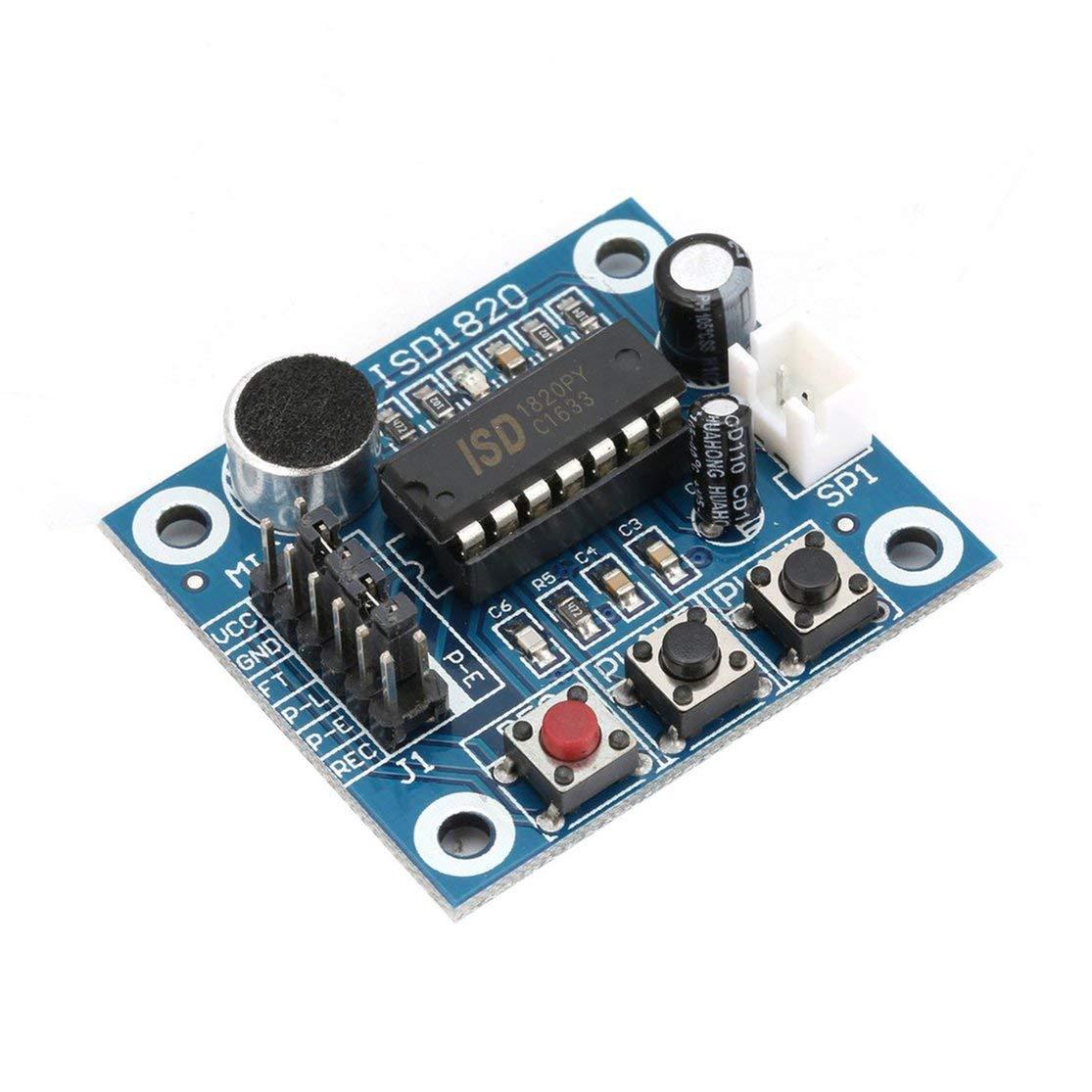 ISD1820 10 s Mikrofon Voice Sound Playback Board Aufnahme Recorder Modul Kit Mikrofon Audio Lautsprecher Lautsprecher f/ür Arduino Color:Blue
