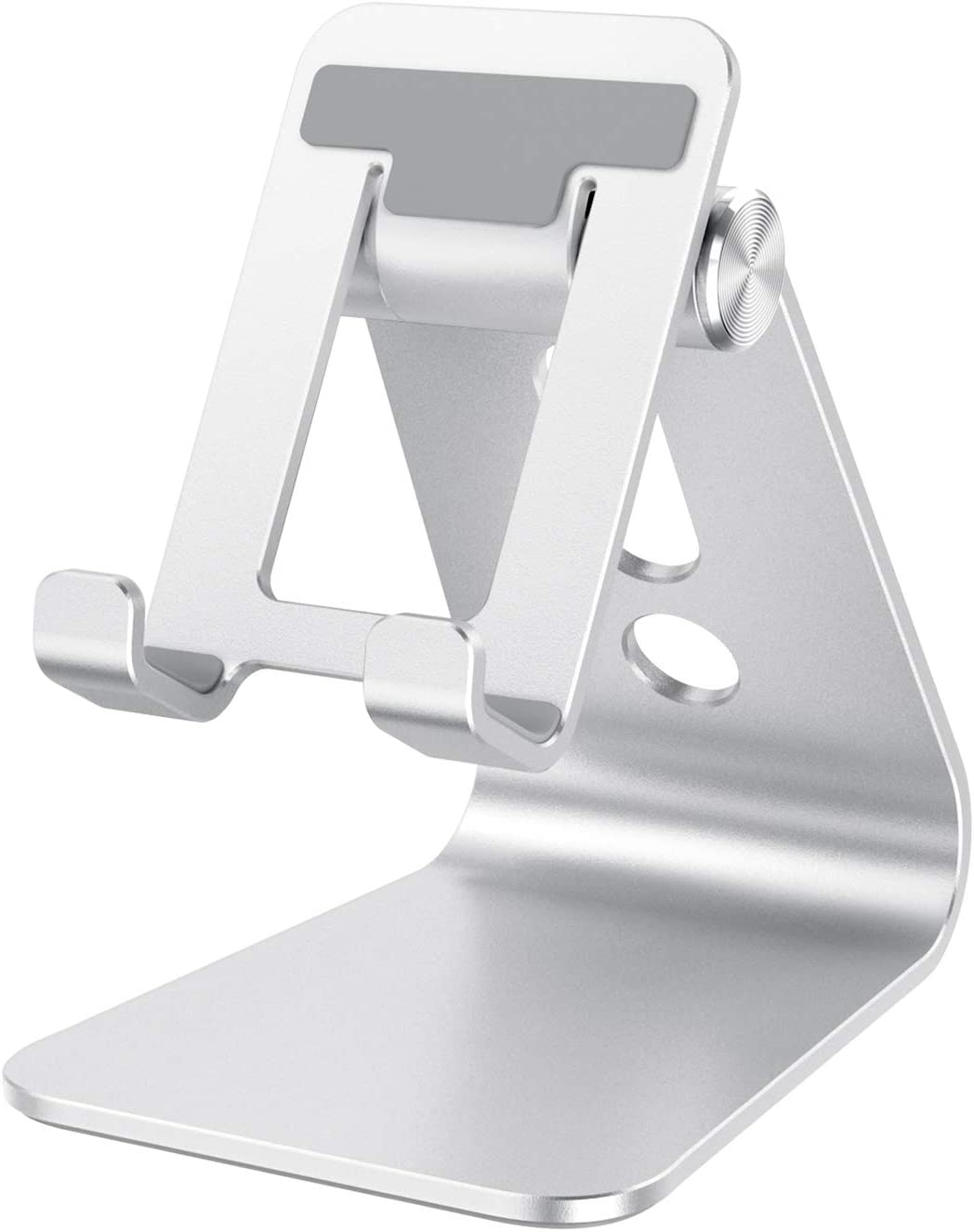 OMOTON Aluminum Desktop Phone Holder Cradle Dock Compatible with All Smartphone iPhone 11 Pro Max Xs Xr X 8 7 6 6s Plus 5 5s 5c Silver Cell Phone Stand Adjustable