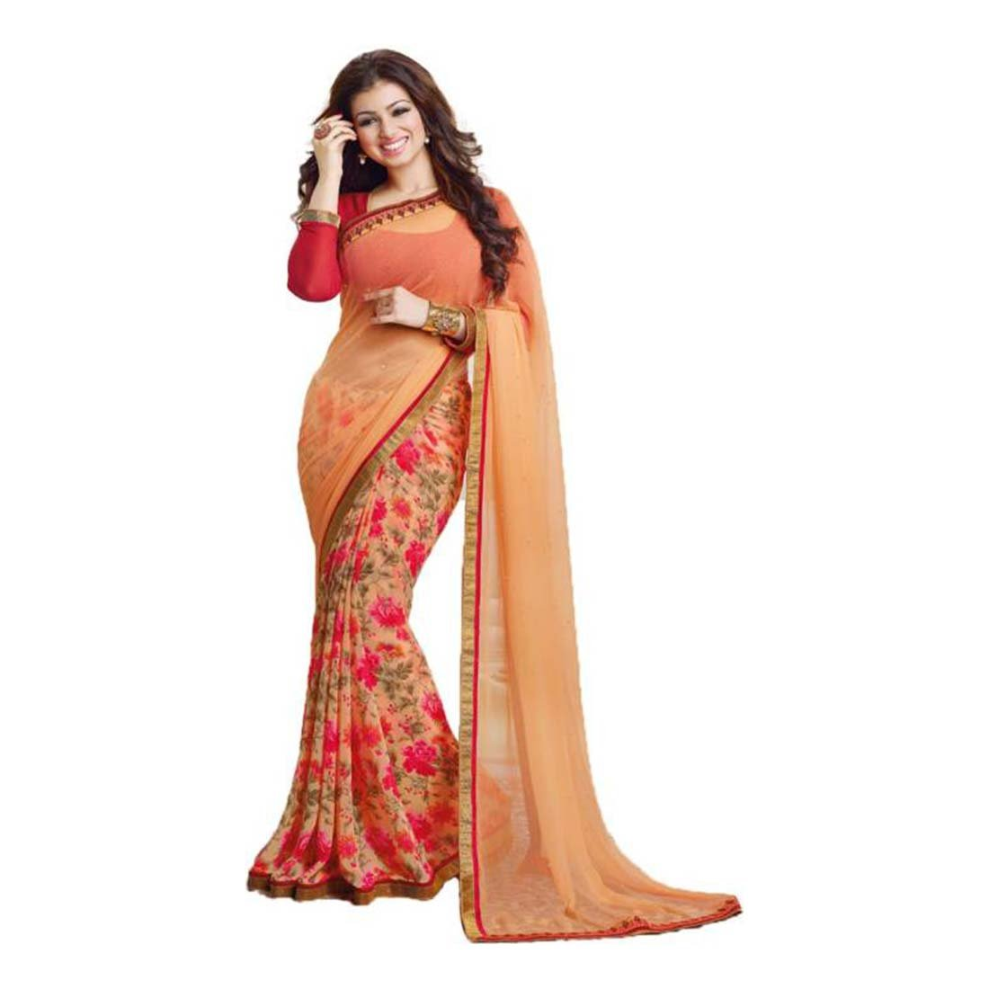 Floral Print Daily Wear Pure Georgette Saree (Orange) Indian Handicrfats Export FKSAR-01251