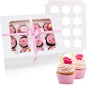 AerWo 12 Pack Cupcake Boxes and Cupcake Carriers, Food Grade Bakery Boxes Cupcake Containers with 12 Removable Inserts and Display Windows Disposable Cupcake Holders for Muffins