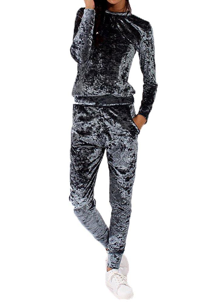 GTKC Donna Pullover di Sport velluto velluto Felpa Tuta 2pz Tuta Sportswear