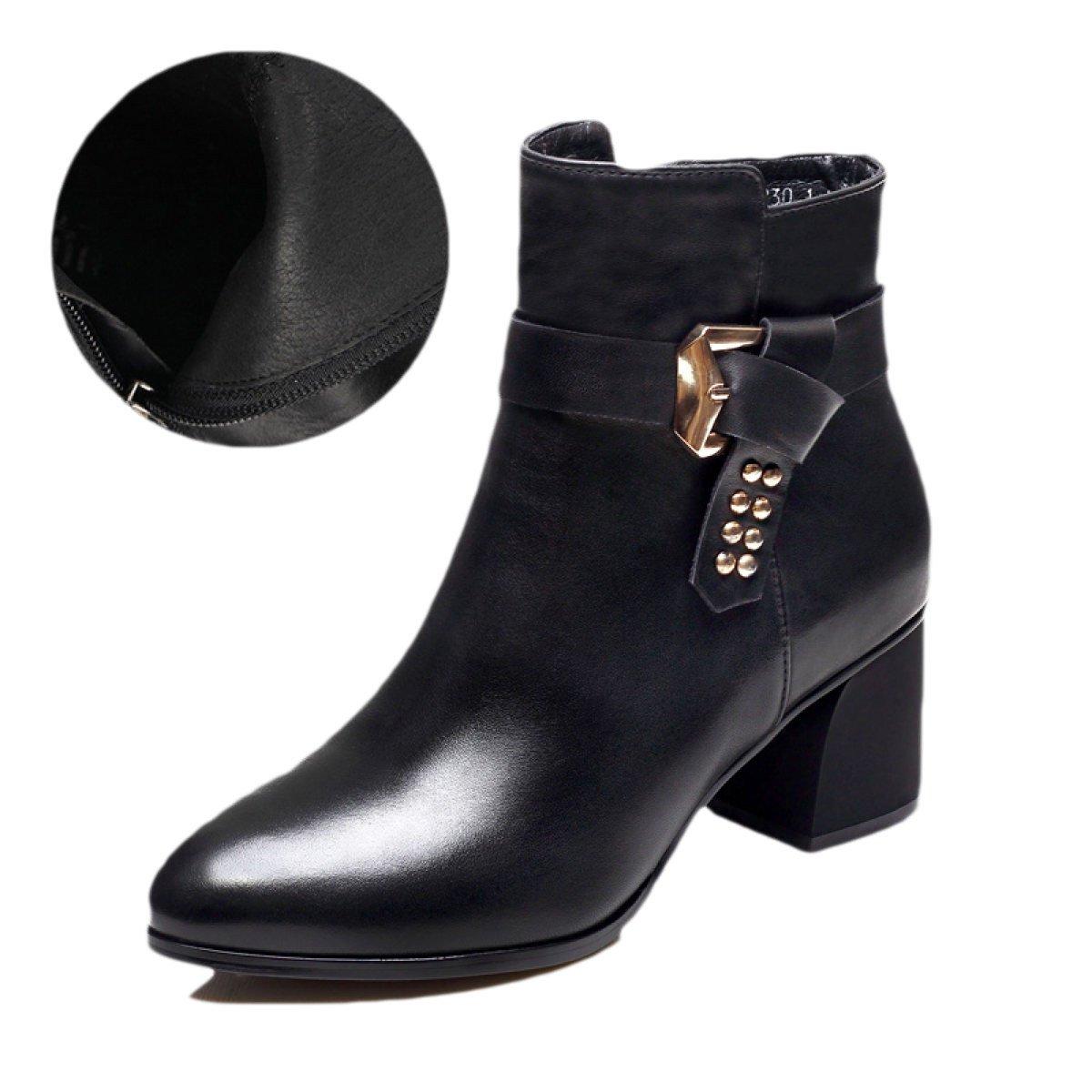 Damenstiefel Herbst Und Winter Leder England Spitz Martin Stiefel Plus Kaschmir Absatz Schuhe Stiefel