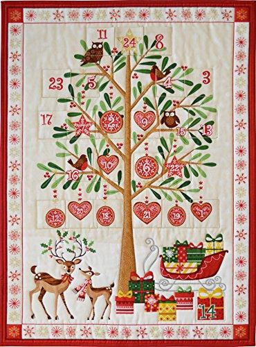 CHRISTMAS FABRIC PANEL - Advent Calendar Pockets - Tree Metallic Christmas - MAK526 - Each panel is 24