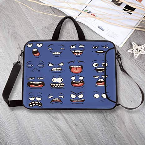 525b8bc89d0 Emoji Large Capacity Neoprene Laptop Bag,Smiley Surprised Sad Fierce Happy  Sarcastic Angry Mood Faces