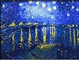 numbers art print - Starry night over the rhone by vincent van gogh starlight art poster print-DIY Painting by number kit Oil Wall Art 16x20 inch Frameless by DIY Painting