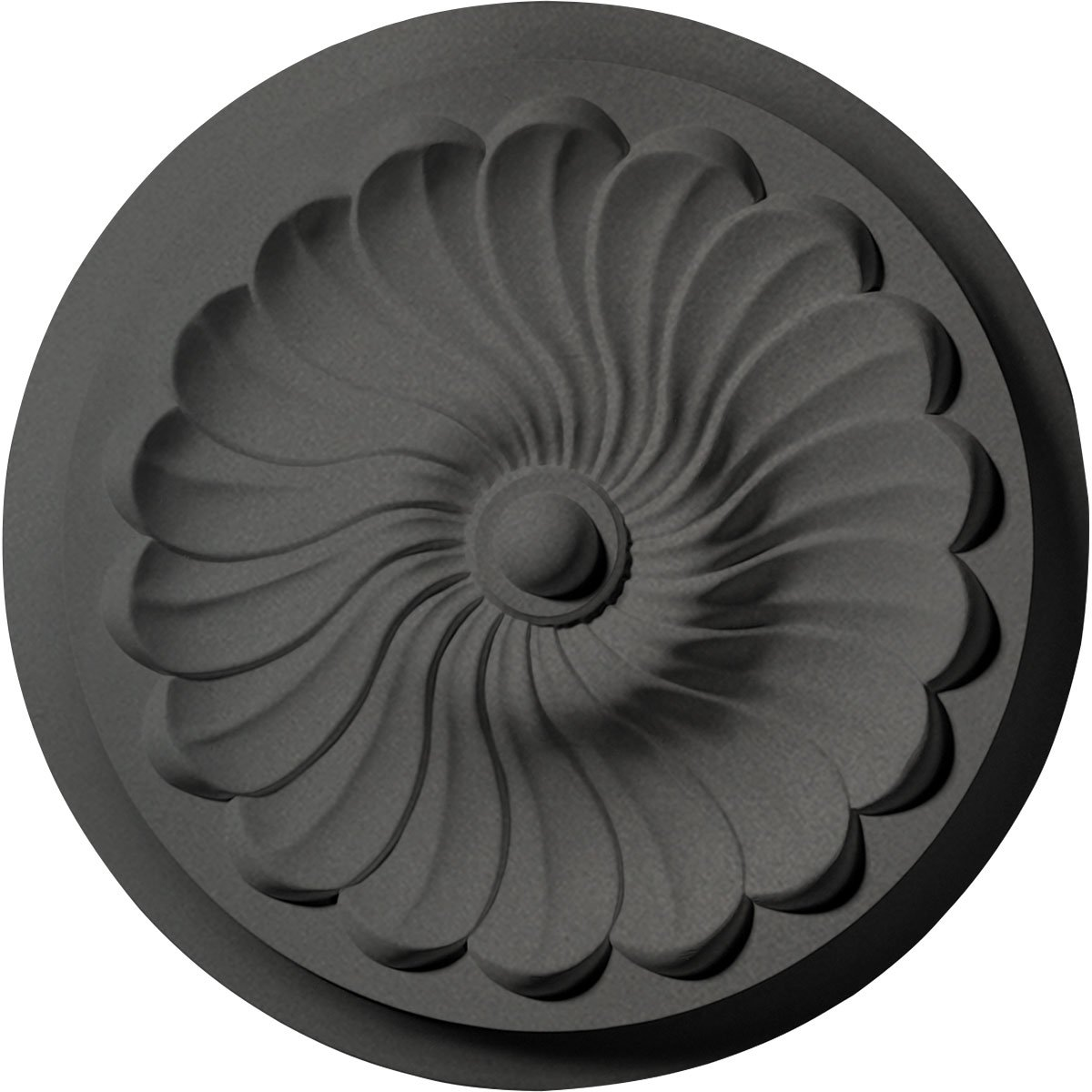 Ekena Millwork CM12FLSGS 12 OD X 2 1/4'' P Flower Spiral Ceiling Medallion fits Canopies up to 2'', Steel Gray