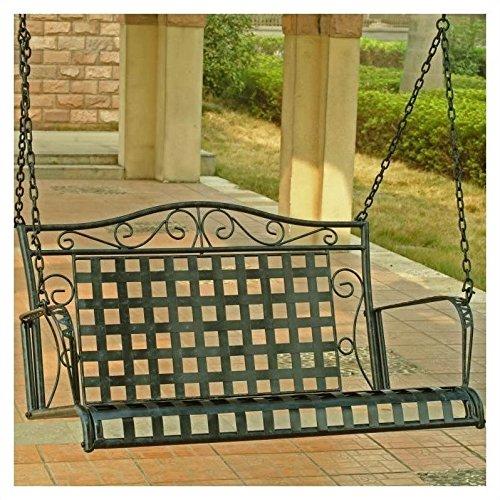 International Caravan Mandalay Iron Patio Porch Swing in Antique Black