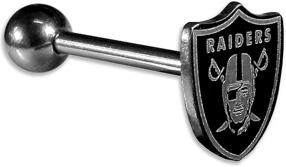 NFL Siskiyou Sports Fan Shop Las Vegas Raiders Barbell Tongue Ring 14 Gauge Steel