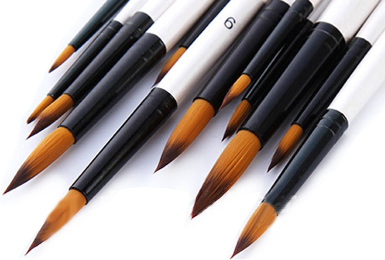 lAcrylique Wartoon 12 Pi/èces Brosses Pinceaux pour Aquarelle Blanc Pinceaux de Peinture