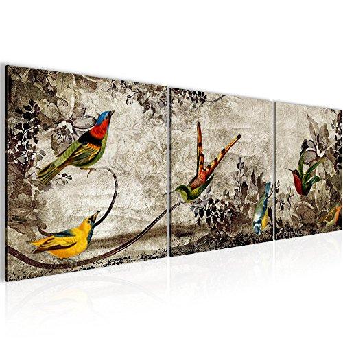 prestigeart-Bilder-Vintage-Vogel-Wandbild-Vlies-Leinwand-Bild-XXL-Format-Wandbilder-Wohnzimmer-Wohnung-Deko-Kunstdrucke-90-x-30-cm-Grn-3-Teilig-100-MADE-IN-GERMANY-Fertig-zum-Aufhngen-108634a