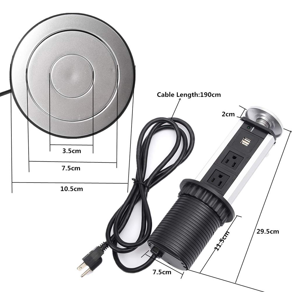 elegantstunning USB Tabletop Hidden Type Socket for Kitchen Office US Plug