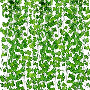 Outgeek Artificial Ivy, Silk Fake Ivy Leaves Hanging Vine Leaves Garland for Wedding Party Garden Wall Decoration 87