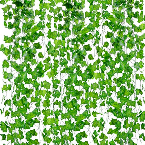 Face Wall Leaf - Outgeek Artificial Ivy, 12 Strands 84 Ft Silk Fake Ivy Leaves Hanging Vine Leaves Garland for Wedding Party Garden Wall Decoration