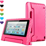 Amazon Kids Kindle Fire 7 Case 2015 Release for Boys&Girls,CAM-ULATA Tablet 7 inch Cover Shock Proof Protective with Handle Stand Holder Light Weight (Previous Generation - 5th) Pink