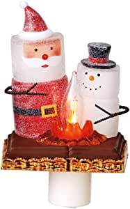 "6"" S'mores Glittered Marshmallow Snowman and Santa with Campfire Christmas Night Light"