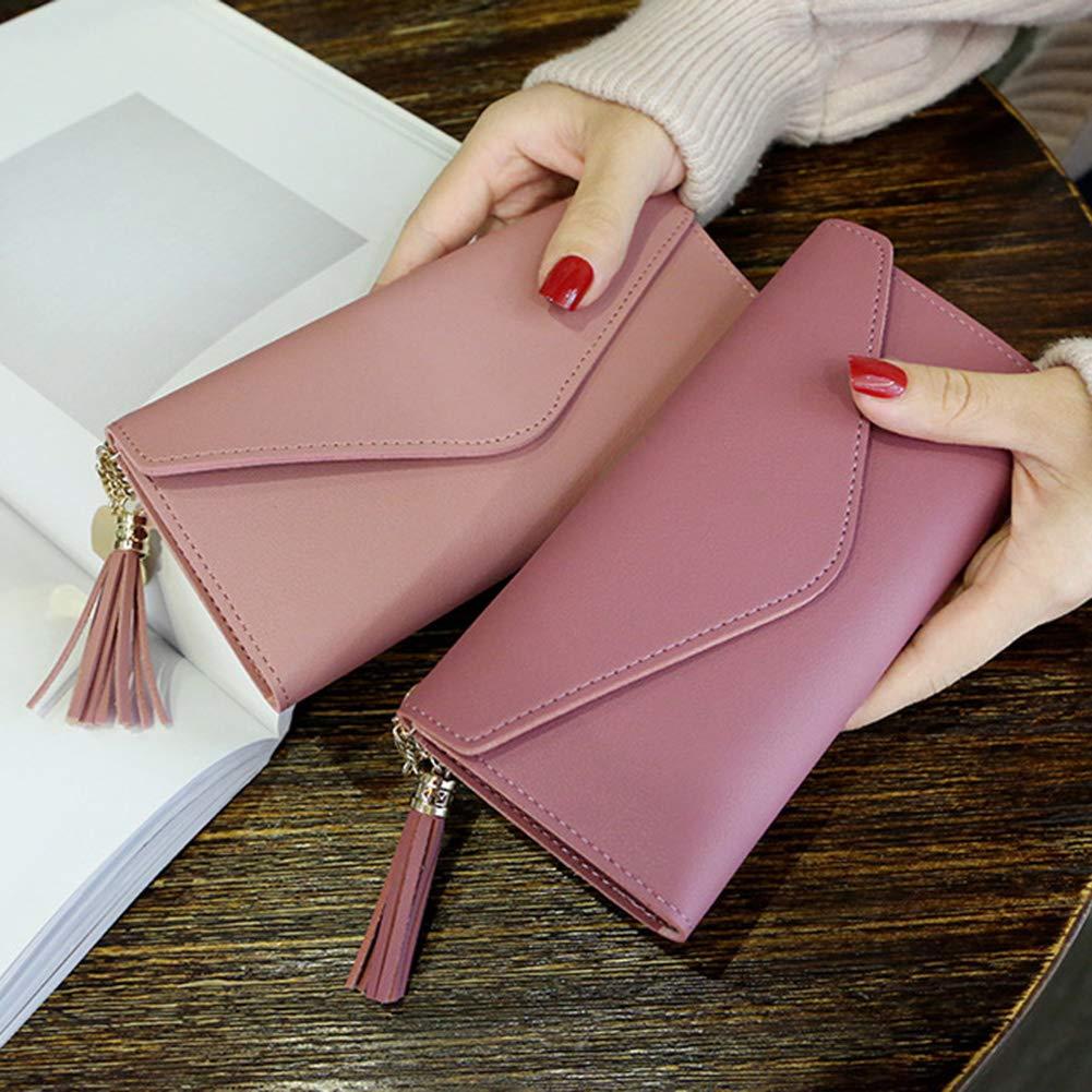 Aland Solid Color Faux Leather Women Long Purse Card Cash Holder Envelope Clutch Bag Purple by Aland (Image #2)
