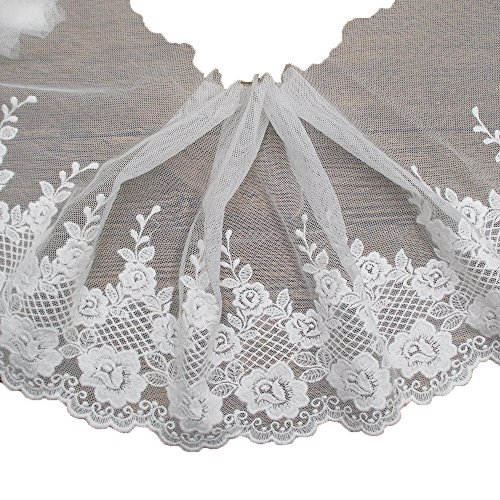 7-1/2 Inches Wide White Cottton Embroidery Lace Trims Garment Accessories Supply by the yard