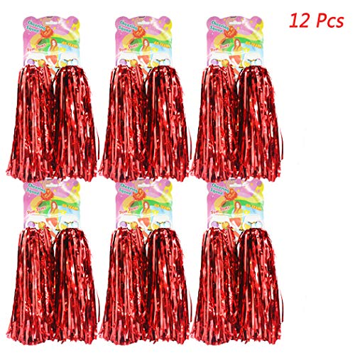Hatisan 12 Pack Cheerleading Pom Poms, Cheerleader Pompoms Metallic Foil Pom Poms for Sports Team Spirit Cheering Party Dance Useful Accessories (Red) ()