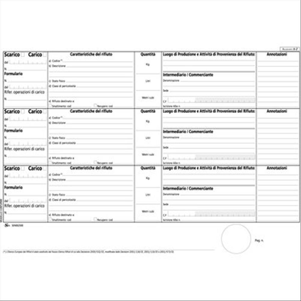 Semper Multiservice SEN002500 Registro Carico-Scarico Rifiuti Buffetti