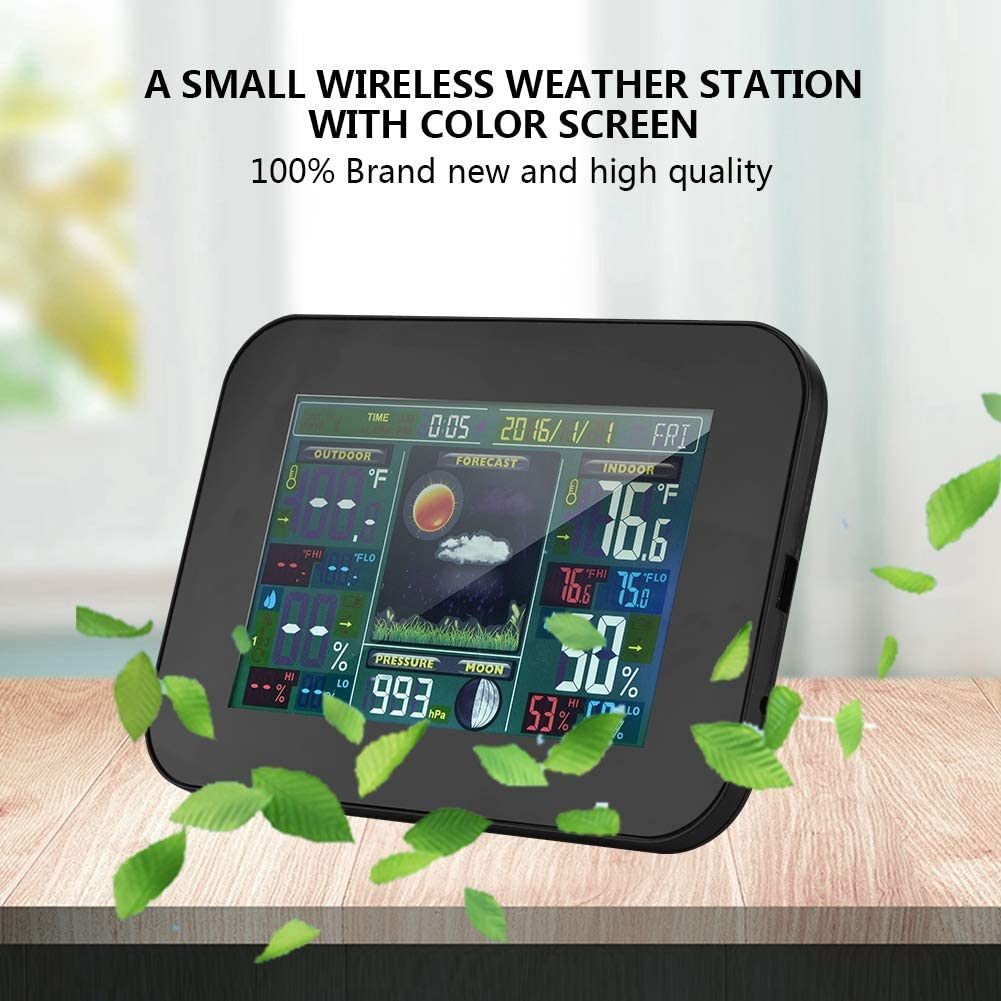 Wireless Weather Station for Indoor Outdoor Alarm Clock Weather Station Digital Thermometer Hygrometer with Sensor for Home Black Office. Atomic Weather Station