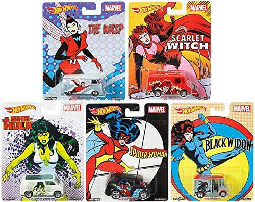 2017 Hot Wheels Pop Culture Marvel Series Set of 5 Premium Adult Collectible Diecast Cars Scarlet Witch, Black Widow, The Wasp, She Hulk, Spider Woman -