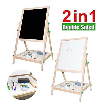 Haehne 2 en 1 Pizarra: Dormitorio de Niños De Madera Doble cara Caballete Chalk Drawing Board, Niños Aprendiendo Pizarra, De lujo Arte de pie ...