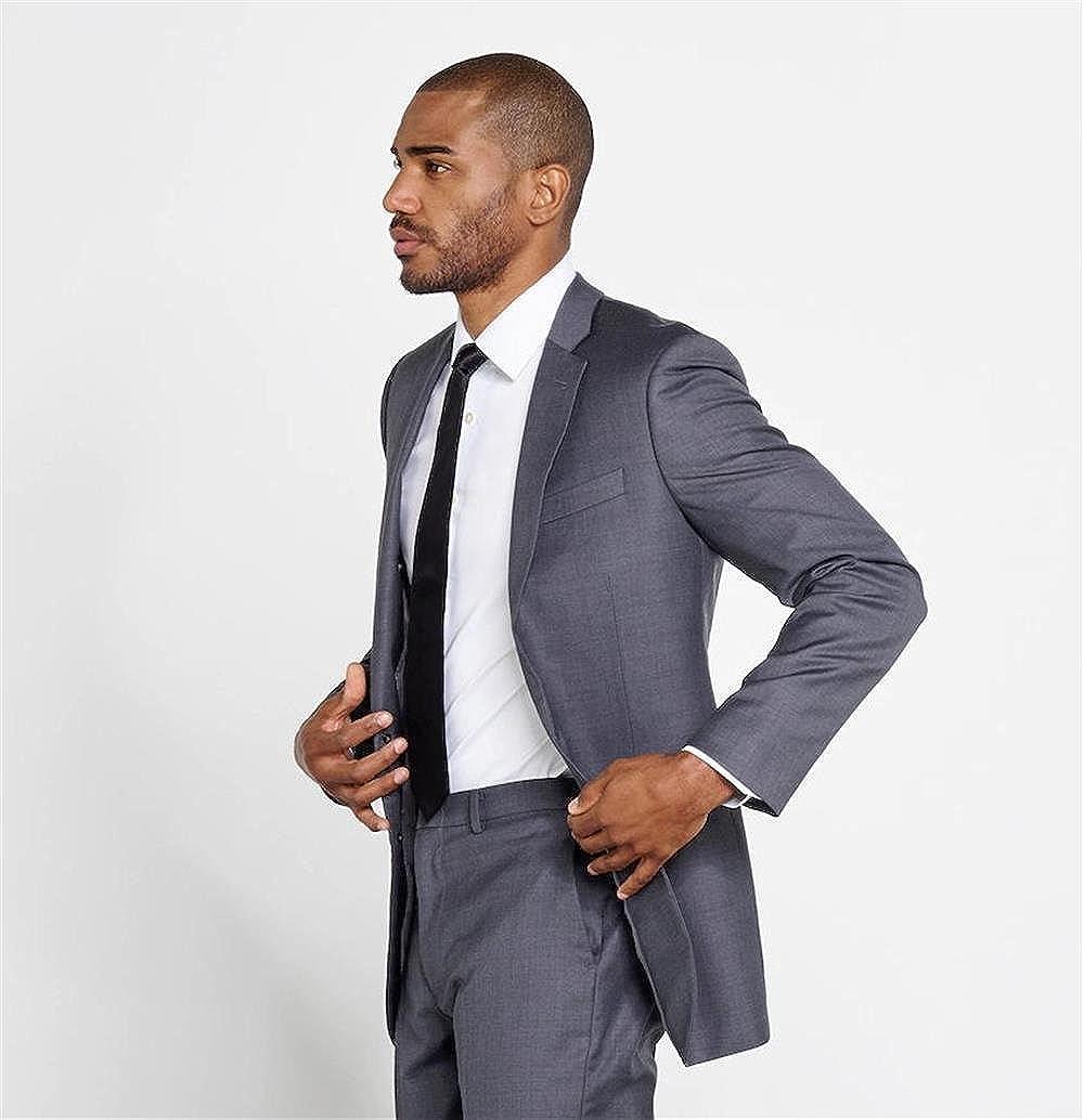 Newdeve Mens Suits Regular Fit 3 Pieces Dark Gray