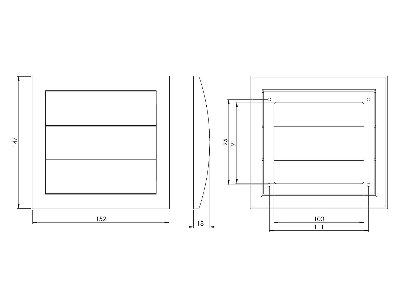 rejilla ventilaci/ón de cierre Di/ámetro 100/Mm//–/4/Inch, marr/ón, nd10zb Rejilla de ventilaci/ón con l/áminas m/óviles persiana