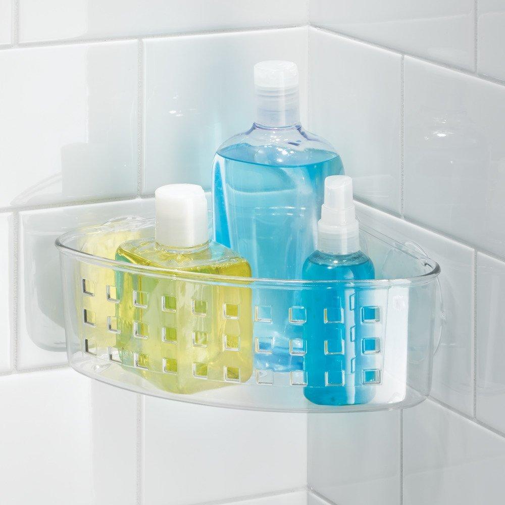 Amazon.com: InterDesign Bathroom Shower Suction Corner Basket for ...