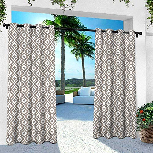 (Hengshu Abstract, Indoor/Outdoor Single Panel Print Window Curtain,Waves Curvy Motifs Mosaic Tile Pattern Old Fashioned Design with Retro Effect, W96 x L96 Inch, Taupe)