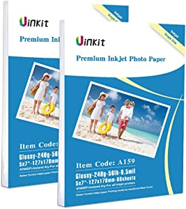 5x7 Photo Paper High Glossy Inkjet Paper - 120Sheets 9.5Mil 240Gsm For Inkjet Only Uinkit 127x178mm