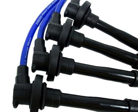 VMS Racing 10,2 mm de alto rendimiento motor Bujía Cables Alambre Set en azul: Amazon.es: Coche y moto