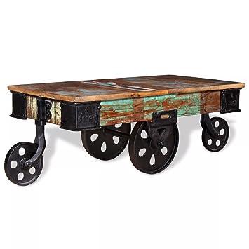 Mesa de Centro de Estilo Industrial con 4 Ruedas de Hierro, Madera Reciclada Estable, 90 x 45 x 35 cm: Amazon.es: Hogar