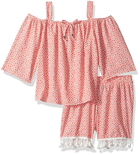 My Michelle Girls' Big Printed Two Piece Set with Cold Shoulder and Tassel Trim, Coral, XL (My Clothes Michelle)